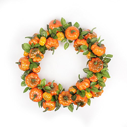 FAVOWREATH 2018 Fall Series FAVO-W51 Handmade 15 inch Halloween Orange Pumpkin Grapevine Wreath for Autumn Season Festival Celebration Front Door/Wall/Fireplace Wedding Floral Craft Hanger Home Decor]()