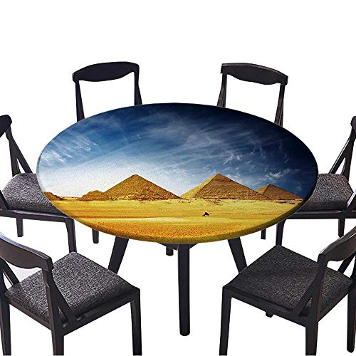 Simple Modern Round Table Cloth Great Pyramids in Giza Valley and Rider on Camel Egypt for Daily use, Wedding, Restaurant 63