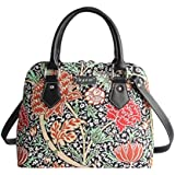Designer William Morris the Cray Floral Tapestry Top Handle Handbag with Detachable Strap to Convert to Shoulder Bag by Signare (CONV-CRAY)
