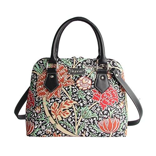 Designer Black William Morris the Cray Floral Tapestry Top Handle Handbag with Detachable Strap to Convert to Shoulder Bag by Signare (CONV-CRAY)
