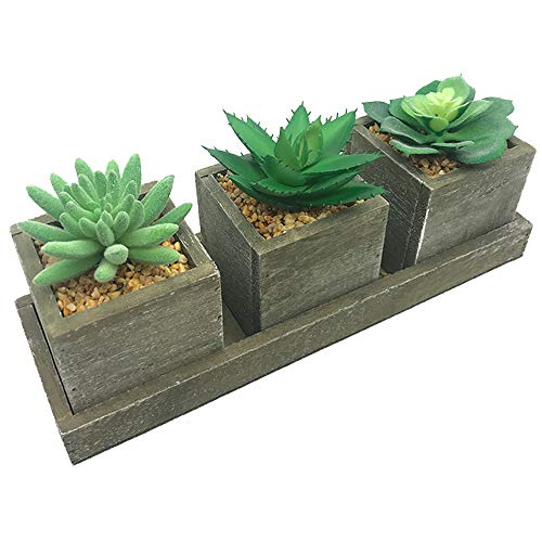 Aisamco Set of 3 Faux Succulents Mixed Artificial Succulent Potted Plants Wood Planter Arrangement in Country Rustic Wooden Square Pots & Display Tray
