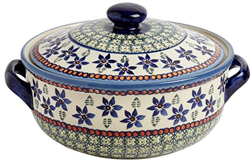 "Polish Pottery Blue Green Ferns and Flowers Round Covered Serving Dish, 10""L x 8.5""W x 5.75""H w/ 60-oz Capacity ()"
