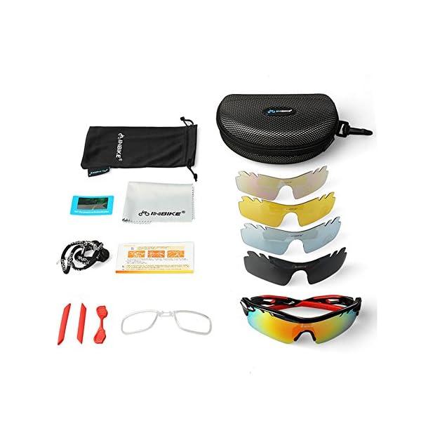 8ecc71f65b INBIKE Gafas De Sol Polarizadas para Ciclismo con 5 Lentes Intercambiables  UV400 Y Montura ...