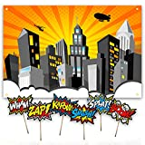 "Superhero Party Supplies | Vibrant City Backdrop with ""6"" Super Hero Sign Photo Booth Props for Boy or Girl Birthday Party 