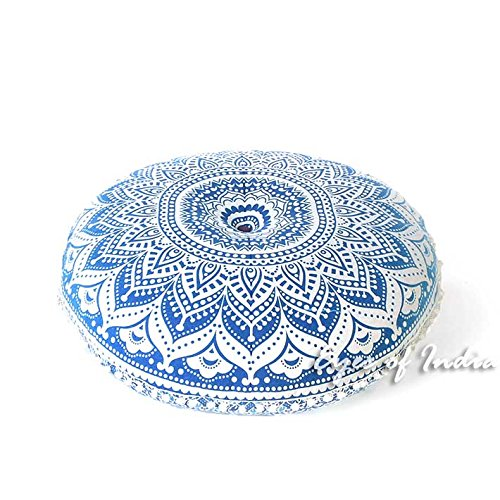 Eyes of India - 32'' Blue White Floor Meditation Pillow Cushion Seating Throw Cover Hippie Mandala Round Colorful Decorative Bohemian Indian Boho Dog bedCover Only by Eyes of India (Image #1)