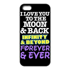 iPhone 5S Protective Case - I Love You To The Moon And Back Hardshell Carrying Case Cover for iPhone 5 / 5S