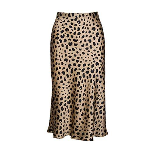 High Waist Leopard Midi Skirt Hidden Elasticized Waistband Silk Satin Skirts Slip Style Animal Print Skirt Women,Leopard,S