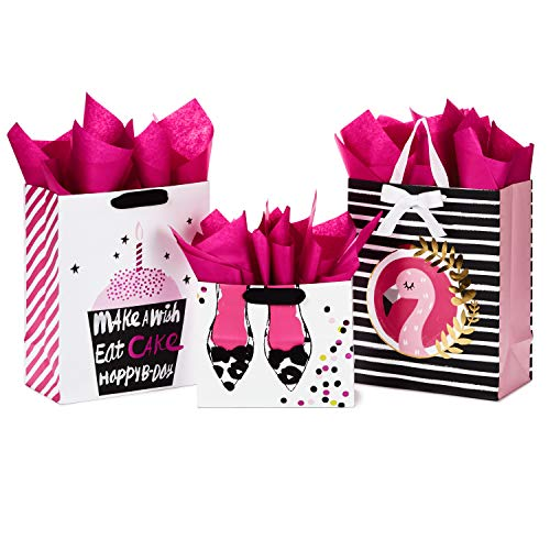 Hallmark All Occasion Gift Bags Assortment with Tissue Paper - Pink and Black Cupcake, Shoes, Flamingo (Pack of 3: 2 Large 13