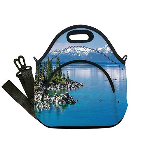 Neoprene Lunch Tote Bags,Landscape,Blue Waters of Lake Tahoe Snowy Mountains Pine Trees Rocks Relax Shore,Light Blue Green Grey,for Adults and children ()