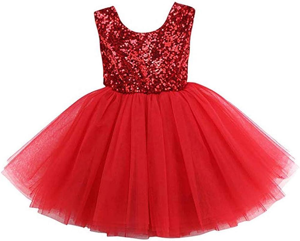 Baby Girl Lace Dress Toddler Kids Sleeveless Sequin Party Wedding Tutu Princess Dress
