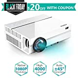 "1080p Projector, 2019 Newest ABOX A6 1080p Native Resolution LED Projector, 200 ANSI Lumen Brightness Home Theater Projector with 67-240"" Screen, 30% Reduction Noise, Support HDMI USB SD Card VGA AV for Home Entertainment"