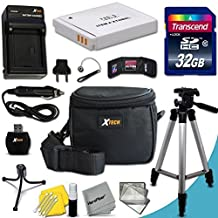 """Ultimate 20 Piece Accessory Kit for Canon Powershot SX530 HS, SX610 HS, SX710 HS, SX520 HS, SX600 HS, SX700 HS, SX510 HS, SX500 IS, SX280 HS, SX260 HS, SX170 IS, SD1300 IS, SD1200 IS, SD980, SD770, SD1300, D30, D20, D10, IXUS 85 IS, IXUS 95 IS, IXUS 200 IS Digital Cameras Includes 32GB High Speed Memory Card + 1 High Capacity NB-6L / NB6LH Lithium-ion Battery with Quick AC/DC Charger + 60"""" Inch Full Size Tripod + a Water Resistant Padded Case"""