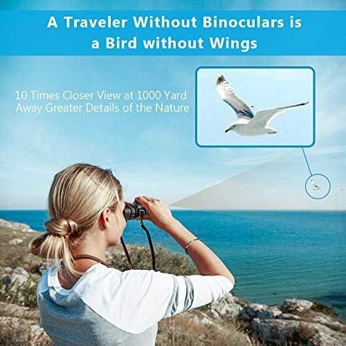 10×25 Compact Binoculars for Kids,Bird Binoculars with Low Light Night Vision, Rotatable Large Eyepiece High Power Binocular Easy Focus for Traveling, Hiking, Sightseeing, Hunting,Gift for Women Teen