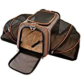 Mr. Peanut's Double Expandable Airline Approved Soft Sided Pet Carrier, Diamond Series Luxury Travel Tote with Premium Self Locking Zippers, Plush Faux Fleece Bedding