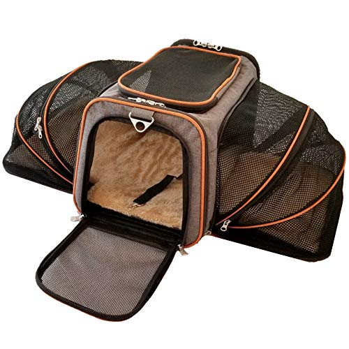 - Mr. Peanut's Double Expandable Airline Approved Soft Sided Pet Carrier, Diamond Series Luxury Travel Tote with Premium Self Locking Zippers, Plush Faux Fleece Bedding