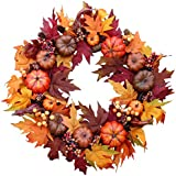 Woodbury Pumpkin Harvest Silk Fall Front Door Wreath 22 Inches - Brightens Front Door Decor with Rich Fall Colors, Approved for Covered Outdoor Use, with Beautiful White Gift Box