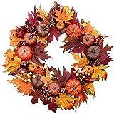 The Wreath Depot Woodbury Pumpkin Harvest Silk Fall Front Door Wreath, 22 Inches