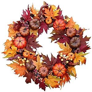 The Wreath Depot Woodbury Pumpkin Harvest Silk Fall Front Door Wreath, 22 Inches 1