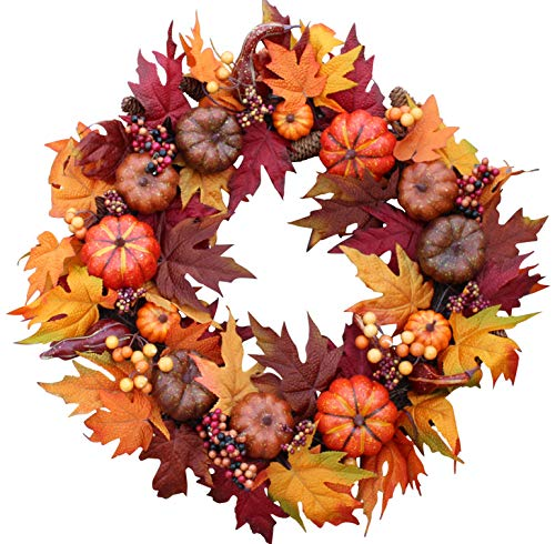 Woodbury Pumpkin Harvest Silk Fall Front Door Wreath 22 Inches - Brightens Front Door Decor with Rich Fall Colors, Approved for Covered Outdoor Use, with Beautiful White Gift (Fall Door Wreaths)