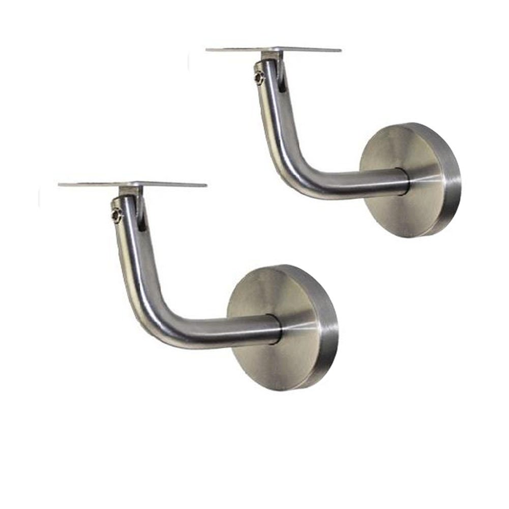 Eforlike 2 Pieces 304 Stainless Steel Wall Mounted Adjustable Handrail Brackets Supports (For Rectangle Tubing)