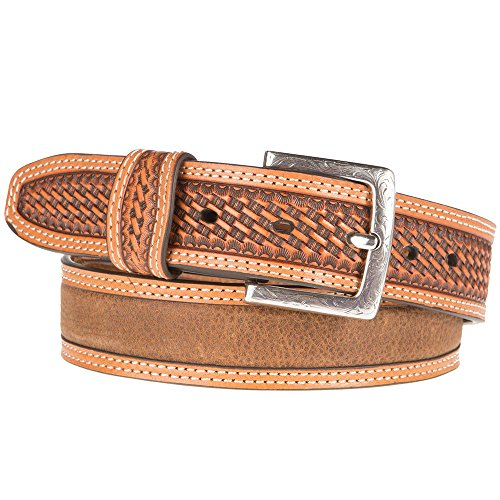 (Ariat Unisex-Adult's Basket Billet Double Stitch Edge Belt, Brown, 40)