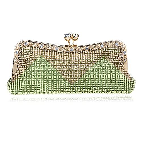 Wedding Brown Las Handbags de pequeña Shouler Messenger de Noche Bag Cadena con KYS Mujeres Bolsos de Cuentas green Crystal Día Diamantes de Embrague w1E5xRnq6H
