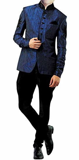 INMONARCH Mens Ultimate Look Jodhpuri Suit With Jodhpur Polo Pants JO182  36S Navy-Blue