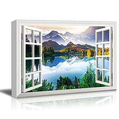 Window View Landscape with Peaceful Lake in Mountains, Created Just For You, Astonishing Piece