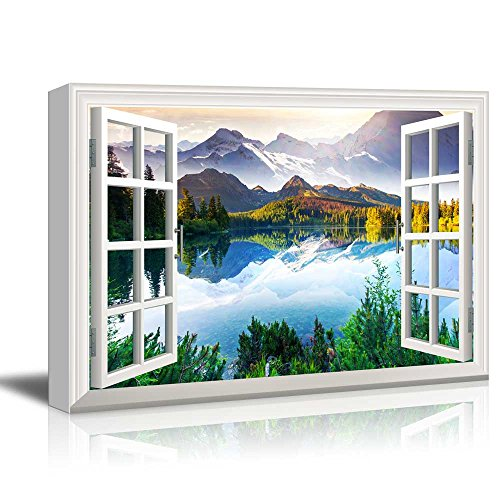Window View Landscape with Peaceful Lake in Mountains Gallery