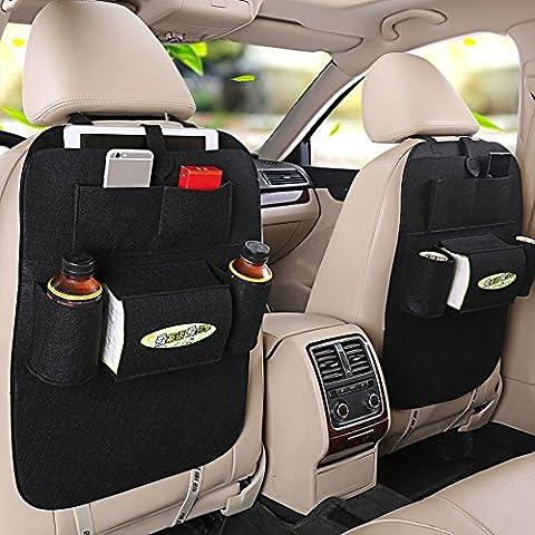 MEGOOD Multi-function 2Pcs Vehicle Storage Bag Felt Non-woven Fabric Car Auto Front or Back Seat Organizer Travel Storage Bag(Black)