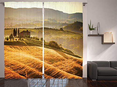 (Ambesonne Tuscan Decor Collection, Siena Tuscany Vineyard Retro Farmhouse Cypress Trees and Sunset Picture, Window Treatments, Living Room Bedroom Curtain 2 Panels Set, 108 X 90 Inches, Mustard Green)
