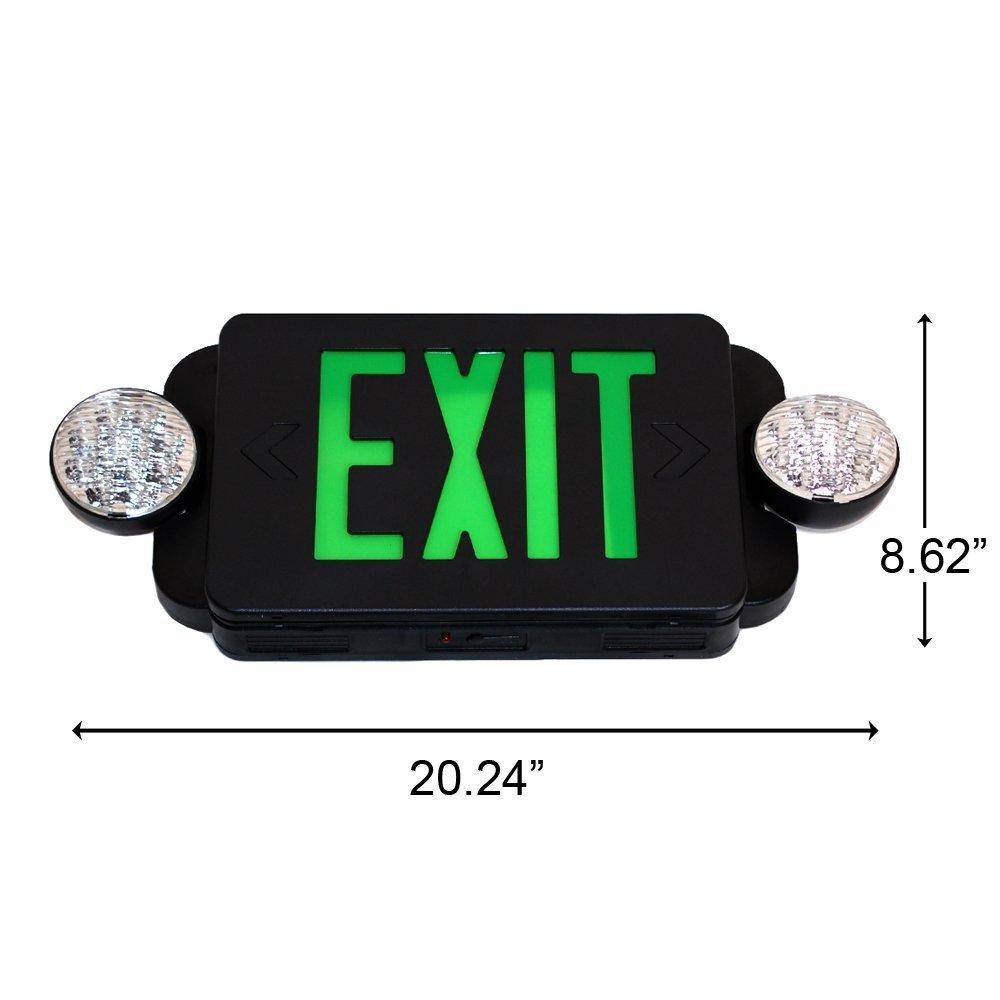 eTopLighting LED BLACK Exit Sign Emergency Light Combo with Battery Back-Up UL924 ETL listed, EL2BG-B-1 by eTopLighting (Image #2)
