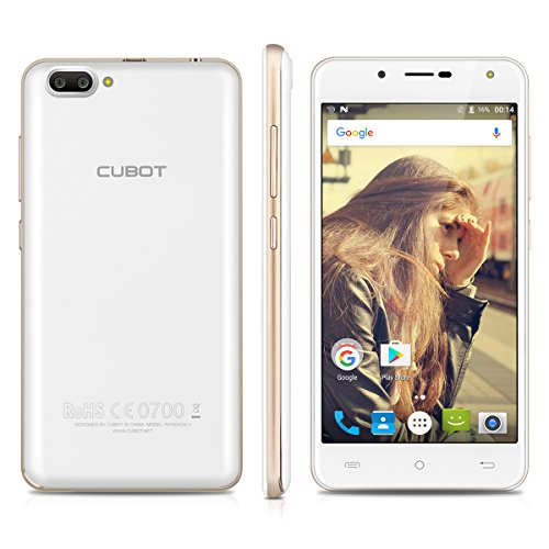 Cubot Rainbow 2 5.0 Zoll 3G Smartphone, Android 7.0 MT6580A Quad-core 1.3GHz IPS HD Screen Smartphone ohne Vertrag , 1GB RAM + 16GB ROM,13.0MP+2.0MP Dual Back Camera+5.0MP Front Camera,Dual SIM,WiFi Hotknot OTG GPS- Rot