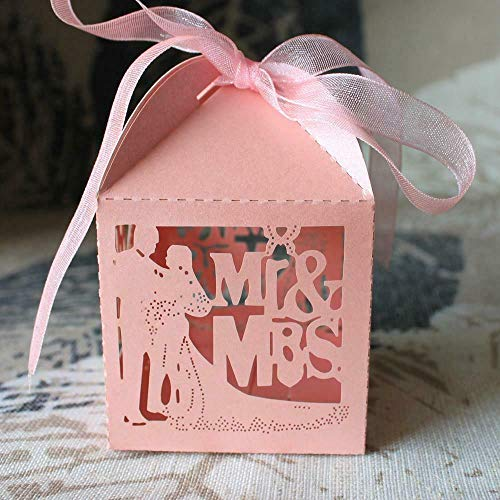 50pcs Mr Mrs Bride Groom Favor Ribbon Gift Box Candy Boxes Wedding Party Decor |Color - Pink|