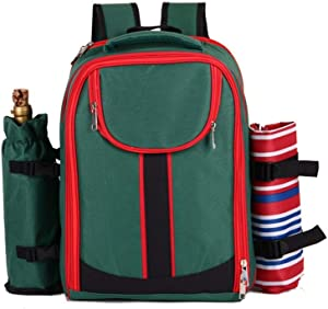 Home Garden Outdoors Picnic Baskets Outdoor Picnic Backpack Hamper with Cooler Bag Multifunctional Travel Insulation Double Shoulder Picnic Bags Portable Lunch Bag Patio Lawn Tables Picnic Baskets