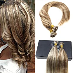 Sunny 16inch I Tip Extensions Pre Bonded Human Hair Light Brown Highlighted Blonde Cold Fusion Human Hair Extensions 50Strands/50g