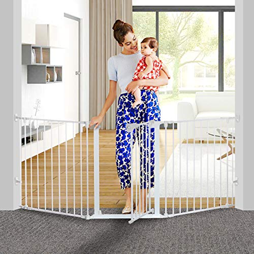KingSo 80 inch Auto Close Baby Gate Super Wide Safety Gate Foldable Extra Wide 33-80 inch Walk Thru for House Stair Doorways Hallways Include Hardware Mounts 30 Tall, White