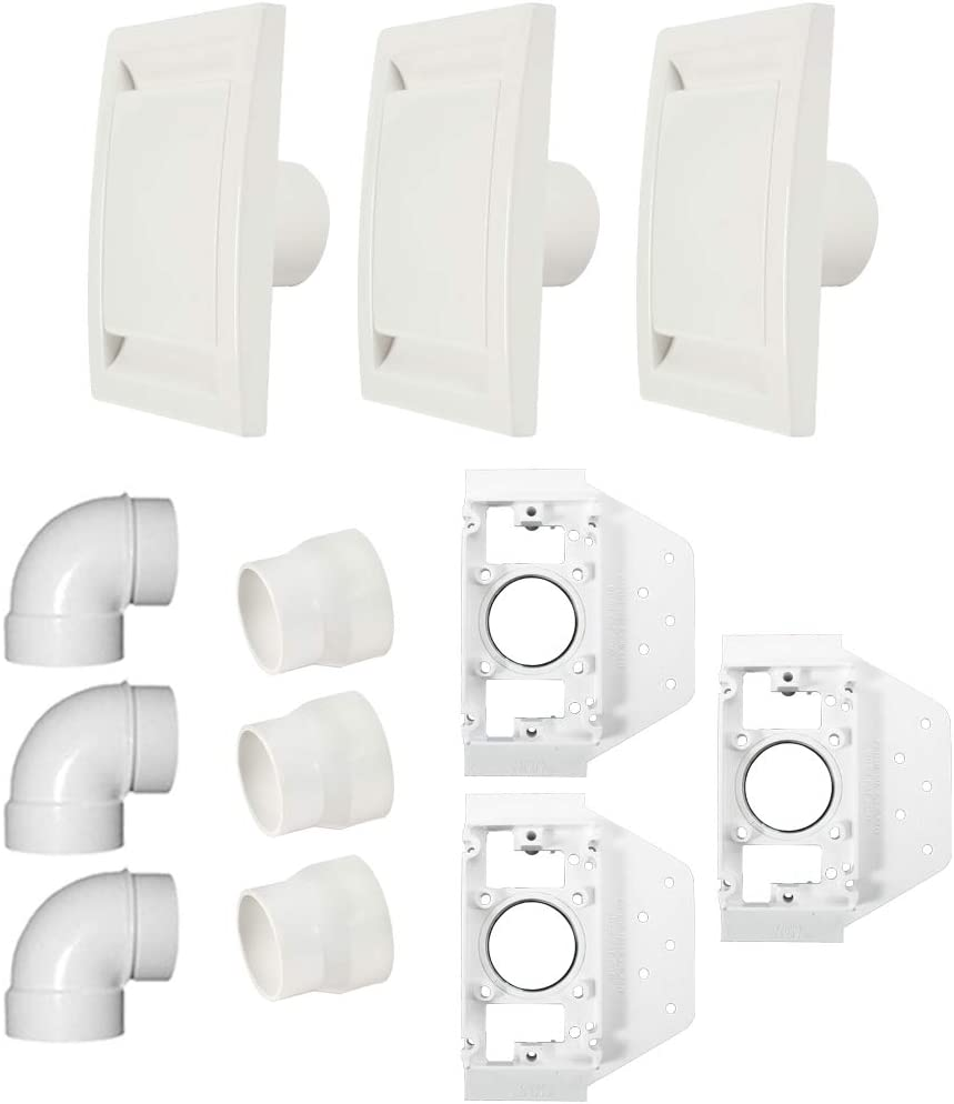 Cen-Tec Systems 92806 3 Inlet Central Vacuum Installation Kit, White