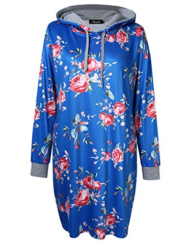 2a2a57fb075 Galleon - AMZ PLUS Womens Plus Size Pullover Keen Length Slim Sweatshirt  Causal Hoodie Dress Blue 5XL