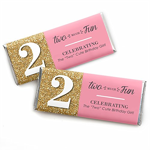 Two Much Fun - Girl - 2nd Birthday Party Favors Candy Bar Wrappers - Set of 24 -