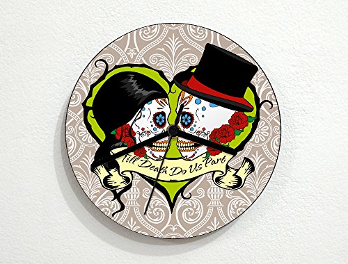 Sugarskulls - Till Death Do Us Part - Wedding - Day Of The Dead - Dia De Los Muertos - Mexican Carnival Holiday - Novelty Gift - Custom Name Wall Clock by inPhoenix