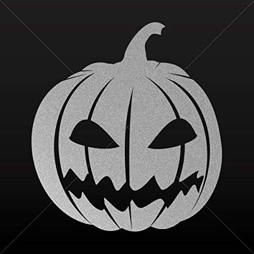 Decals Decal Scary Jack O Lantern Halloween Pumpkin Motorbik Silver-Matte (10 X 9.11 Inches)