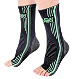 Doc Miller Premium Ankle Brace Compression Support Sleeve Socks for Swollen Foot Plantar Fasciitis Achilles Tendonitis, Use as Injury Support Recovery Eases Pain Swelling 1 Pair (Green, Large)