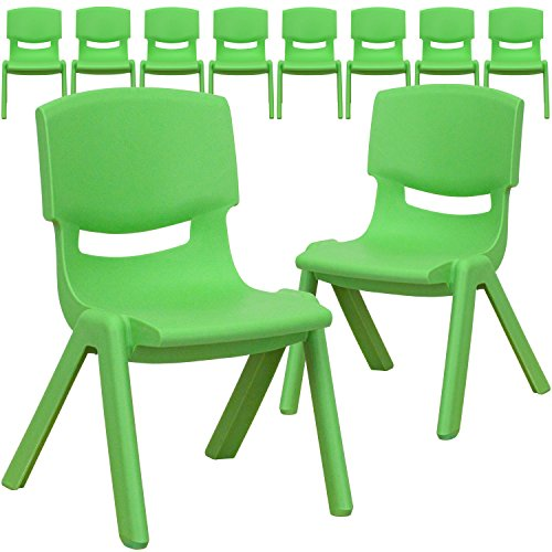 Flash Furniture 10 Pk. Green Plastic Stackable School Chair with 10.5'' Seat Height - 10-YU-YCX-003-GREEN-GG