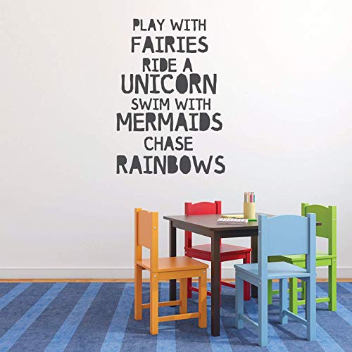 Fairies Unicorn Mermaids Rainbow Quote Wall Decor | Vinyl Decal Lettering for Girl Toddler or Tween Bedroom | Pink, Purple, Black, White, Gray, Turquoise Other Colors | Small, Large Sizes