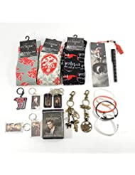Twilight Fan Ultimate Gift Package Includes Socks, Keychains, Bookmark, Pen, Jelly Bracelets, Bandages, Bag Clips, and Dog Tags