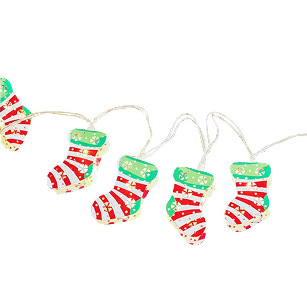 LukLoy Christmas Stocking LED String Lights, Socks Fairy String Lights, Perfect for Christmas Window Garland Wreath Home Decoration (Colorful Stocking, 2m 20LED, Battery Operated)
