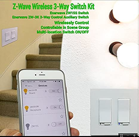 Enerwave ZW15S Z-Wave Wireless Single Pole/Three Way ON/OFF Wall Switch, 120 VAC, 15Amp, Black - - Amazon.com