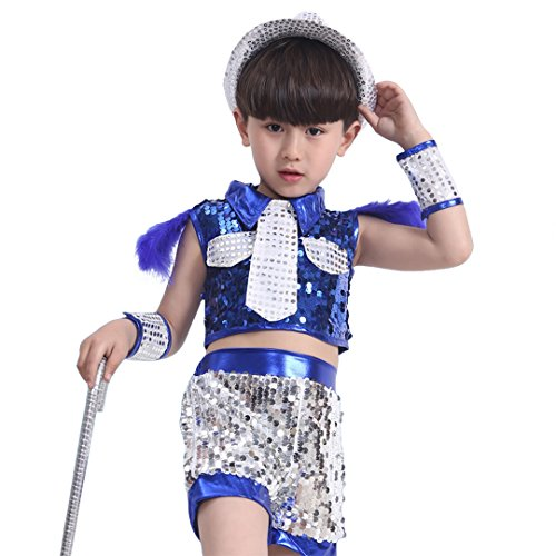 Multifit Boys Shiny Sequin Festival Dancing Costume with Glitter Shorts Halloween Children's day Costume Suit(Blue M) -