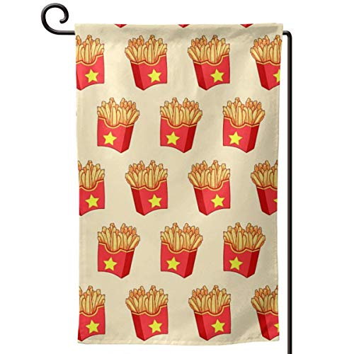 Seasonal Garden Flags, French Fries Chips, Outdoor Double Sided Decorative Banner for Holidays Yard -12.5x18 Inch -